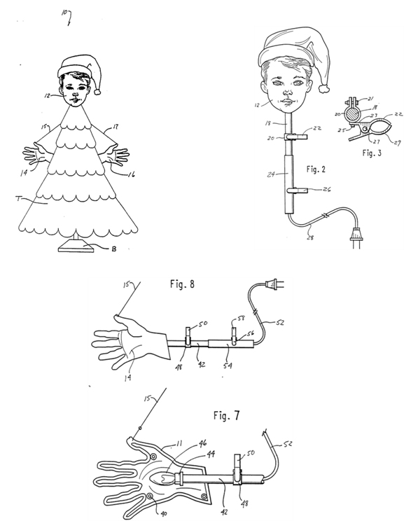 เครื่องประดับต้นคริสต์มาส เป็นชุดของมือมนุษย์และศีรษะของมนุษย์
